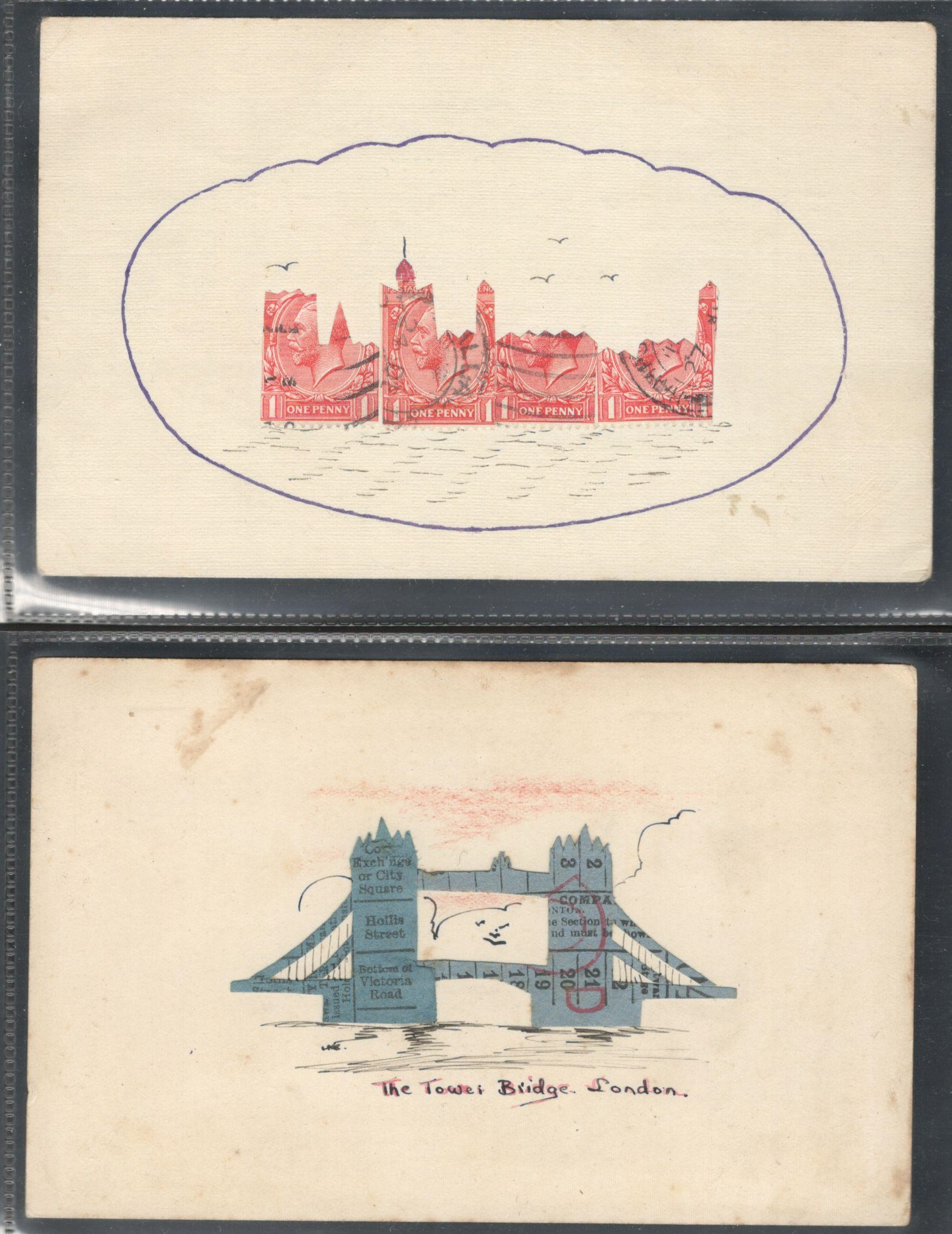 Lot 82 - TWO STAMP MONTAGE POSTCARDS IN VARIOUS CONDITION