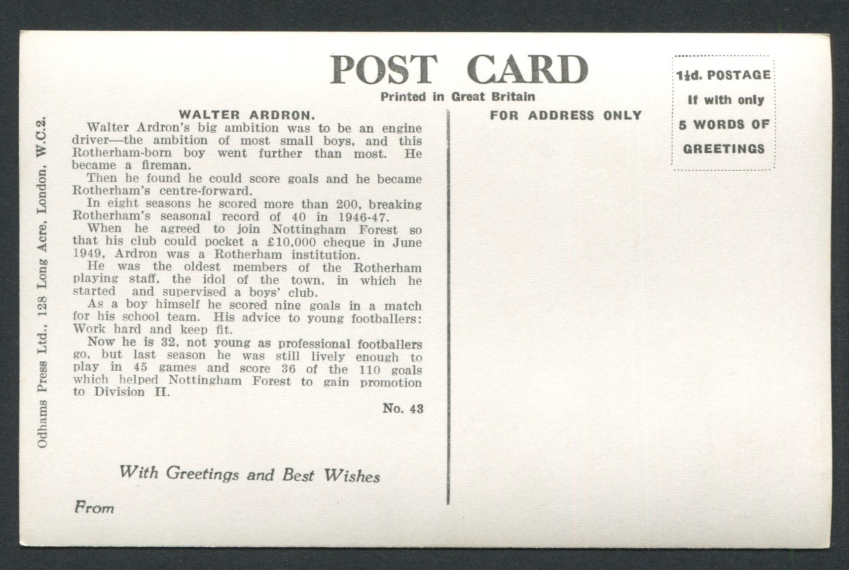 Lot 86 - TWO VINTAGE SPORT CHARACTERS POSTCARDS CON MARTIN & WALTER ARDRON