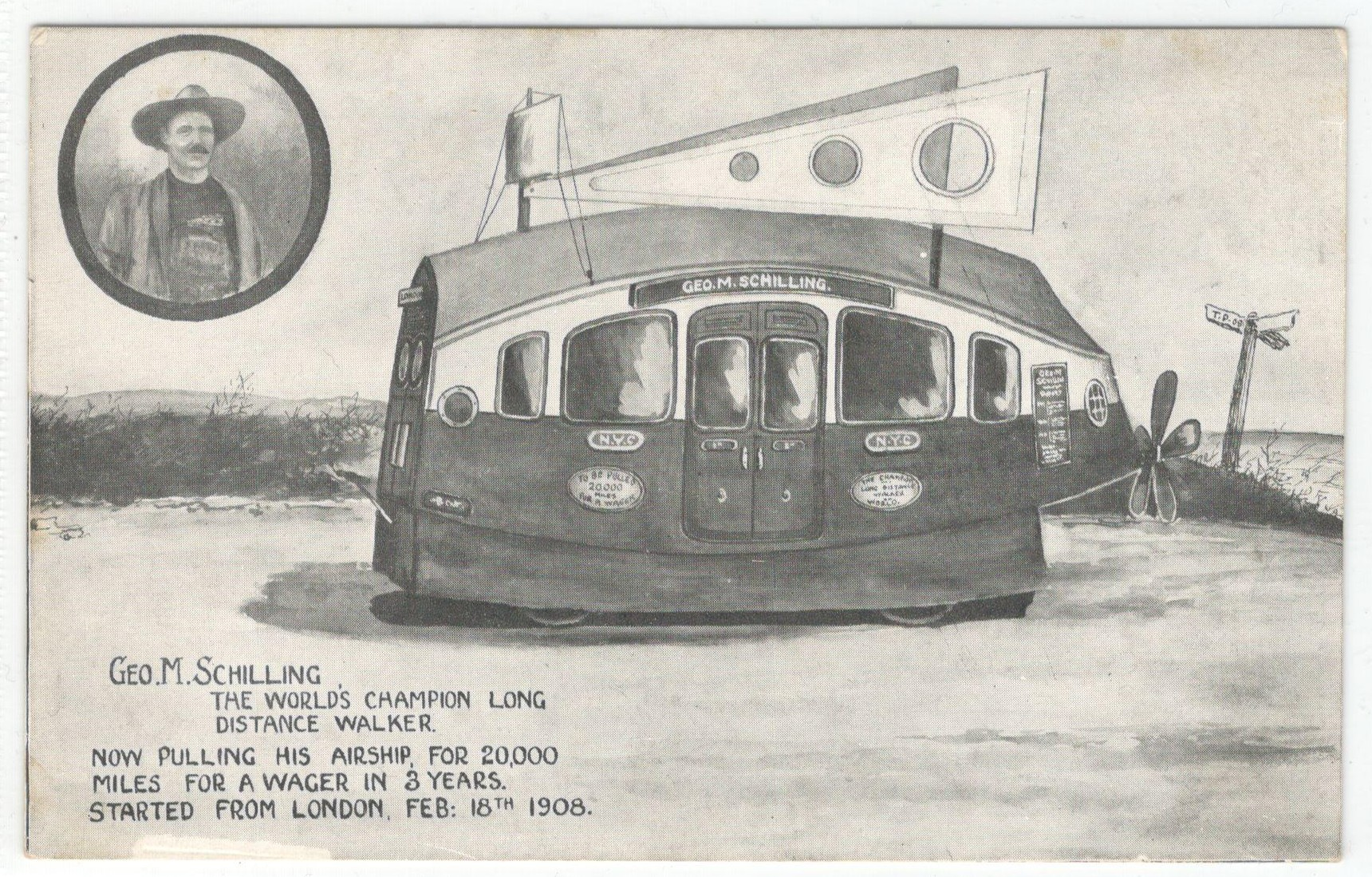 Lot 115 - GEO.M.SCHILLING THE WORLD'S CHAMPION LONG DISTANCE WALKER NOW PULLING HIS AIRSHIP FOR 20 000 MILES