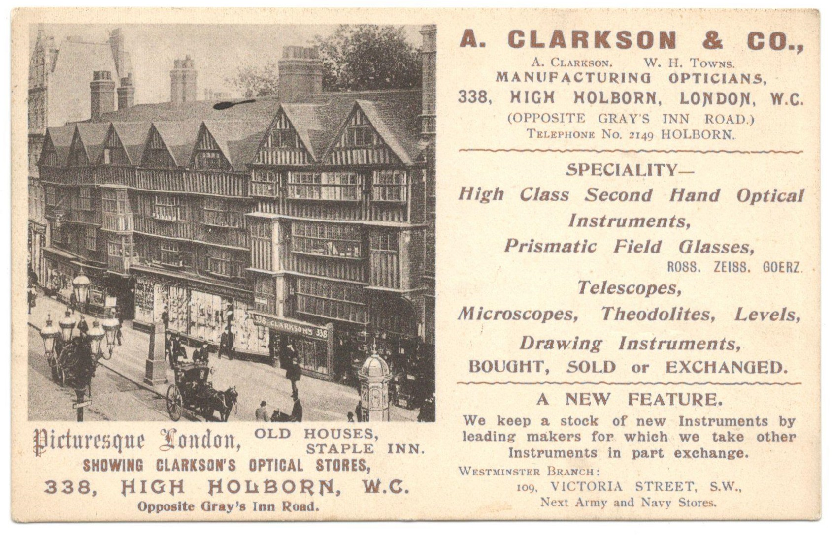 Lot 104 - ADVERTISING PICTURESQUE LONDON POSTCARD FOR A CLARKSON & CO MANUFACTURING OPTICIANS UNPOSTED & IN