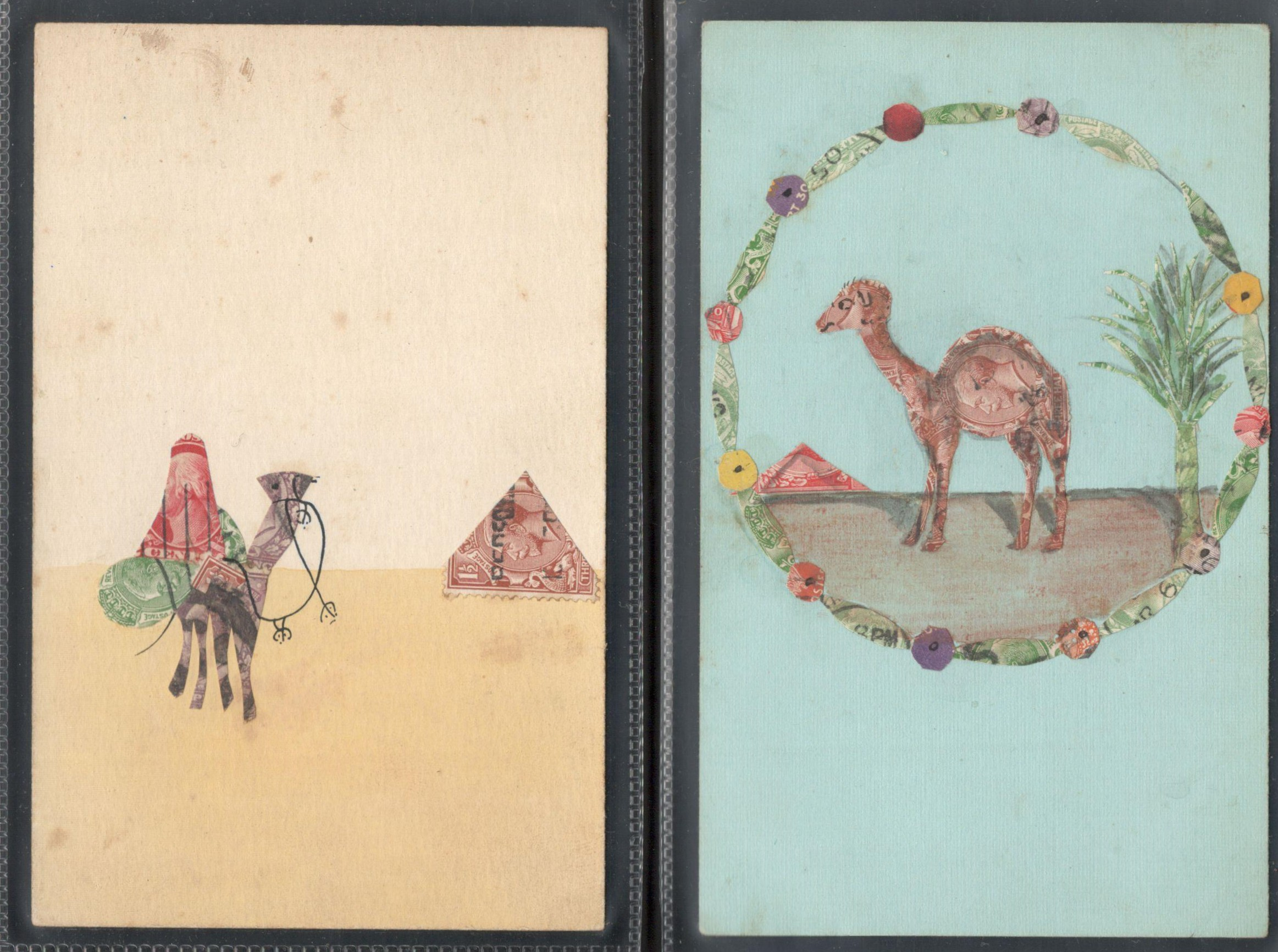 Lot 73 - TWO STAMP MONTAGE POSTCARDS IN VARIOUS CONDITION