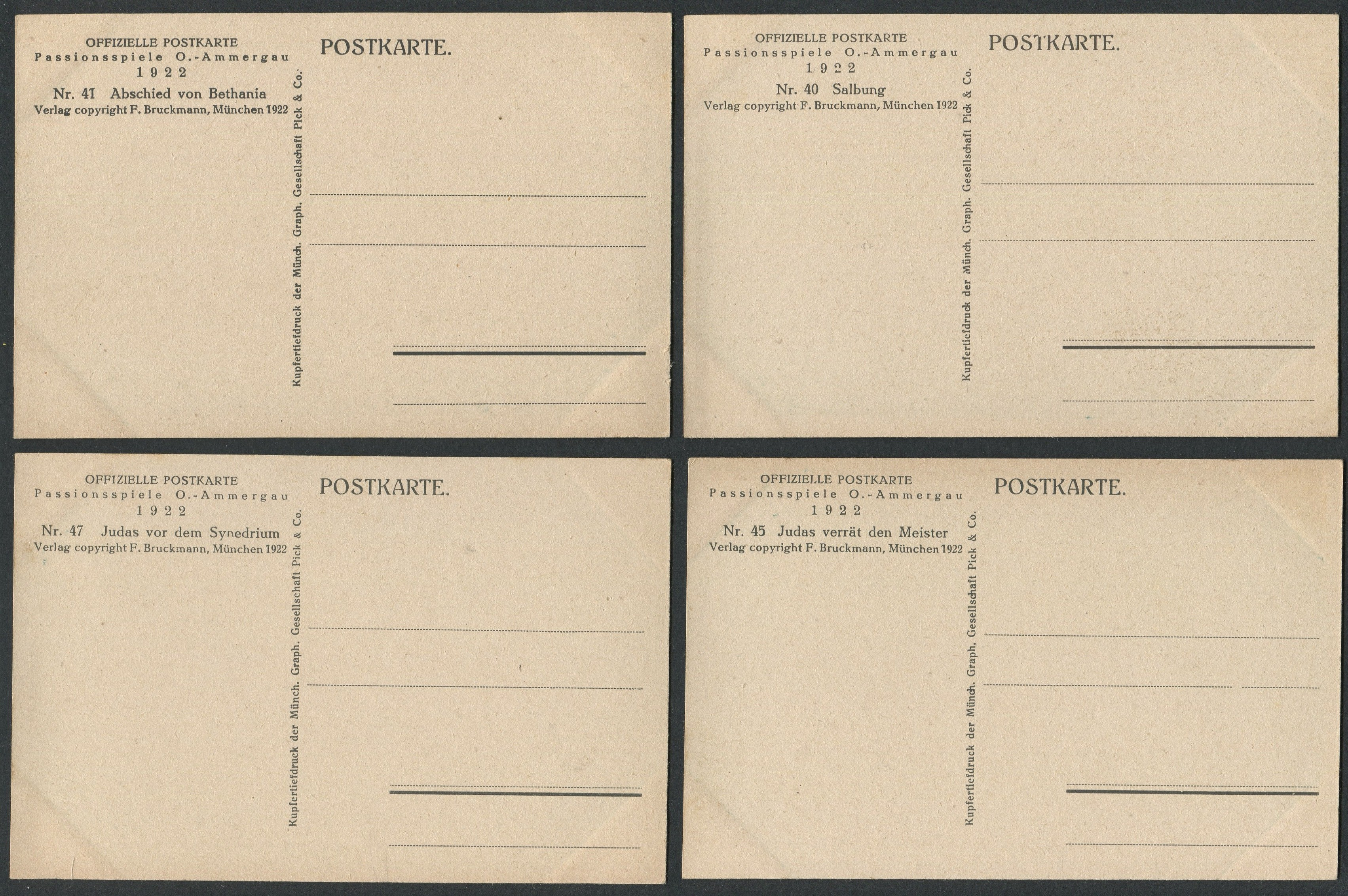 Lot 40 - FOUR VINTAGE POSTCARDS OFFIZIELLE POSTKARTE 1922 PASSIONSSPIELE O AMMERGAU