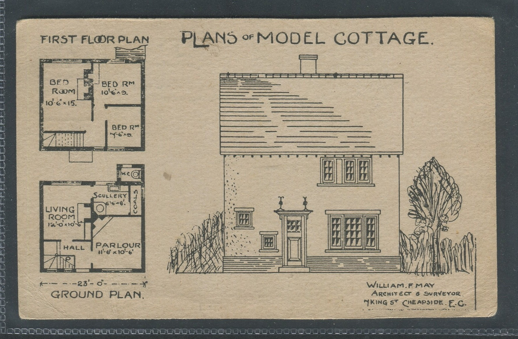 Lot 88 - THREE VINTAGE FLOR MAP ARCHITECTURAL DRAWINGS POSTCARDS