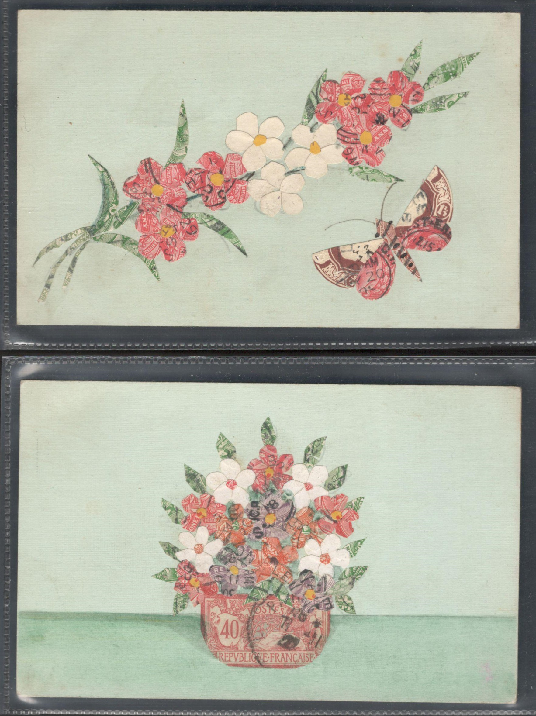 Lot 63 - TWO STAMP MONTAGE POSTCARDS IN VARIOUS CONDITION