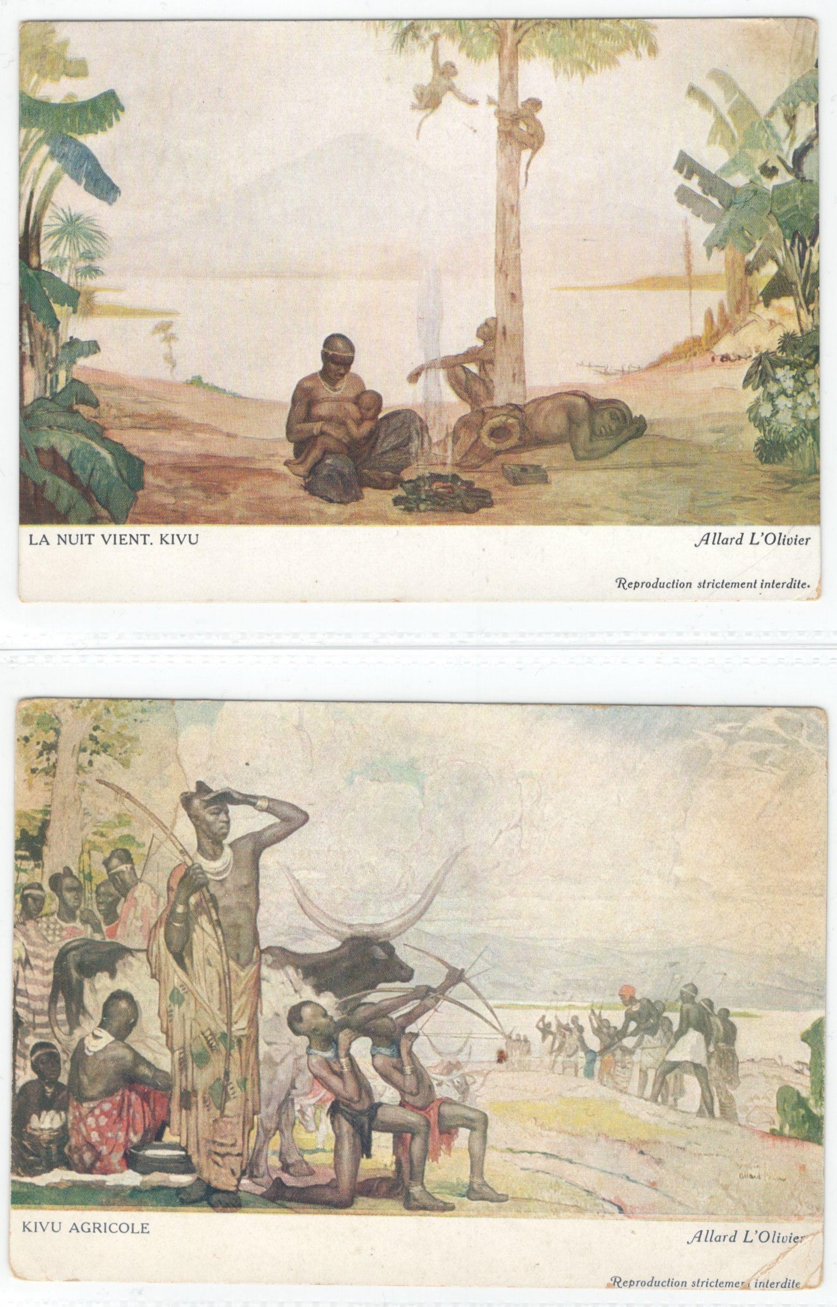Lot 54 - TWO EARLY ARTIST SIGNED FRENCH POSTCARD BY ALLARD L'OLIVIER