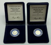 TWO SILVER PROOF 20 PENCE COINS