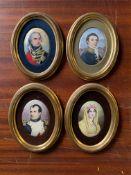 FOUR SIGNED LUCIEN EMILLE BOULLEMIER OVAL PORTRAITS ON CERAMIC PLATES DEPICTING NAPOLEON, JOSEPHINE,