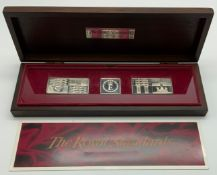 BOXED SET OF 1977 ROYAL STANDARDS SILVER INGOT MEDALLIONS FOR THE QUEEN'S SILVER JUBILEE