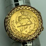 9CT GOLD RING WITH 1/2 PAHLAVI GOLD PERSIAN COIN (SIZE N)