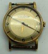 A GENTS 1950'S 18CT GOLD JAEGER-LECOULTRE WRISTWATCH