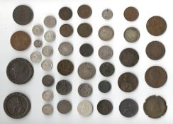 SELECTION OF VARIOUS EARLY BRITISH COINS INCLUDING TOKENS MEDALS ODDS & SOME SILVER