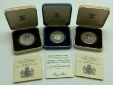 THREE SILVER PROOF COINS