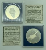 TWO SILVER PROOF COMMEMORATIVE COINS - BEAUTIES OF CYPRUS