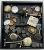 INTERESTING ITEMS LOT INCLUDING GOLD PLATED INTAGLIO BROOCH, WATCHES, STAMPS, SILVER FOB MEDAL