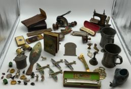 INTERESTING ITEMS LOT INCLUDING PEWTER TANKARDS ANTIQUE HARMONICAS
