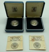 TWO £1 SILVER PROOF COINS