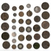 SELECTION OF VARIOUS EARLY QUEEN VICTORIA COINS INCLUDING TOKENS MEDALS ODDS & SOME SILVER