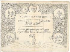 ADVERTISING - SKIT NOTE VOORUIT VLAMINGEN 1863 BANK NOOT IN ACCEPTABLE CONDITION
