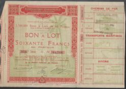 1931 EXPOSITION COLONIALE INTERNATIONALE NON A LOT SOIXANTE FRANCS SHARE CERTIFICATE