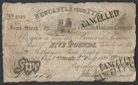 1830 NEWCASTLE UPON TYNE FIVE POUNDS BANKNOTE SN: 1919 CANCELLED