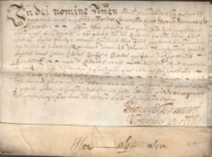 ANTIQUE MANUSCRIPT FROM 1675 & A SEAL IN LATIN & ENGLISH