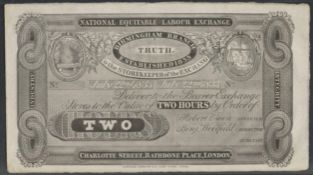 1833 ROBERT OWEN TWO HOURS NOTE - NATIONAL EQUITABLE LABOUR EXCHANGE IN ACCEPTABLE CONDITION
