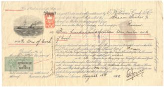 1902 SHIPPING BILL WITH BRITISH & FRENCH REVENUE STAMPS