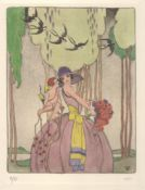STANLEY WOOLLETT (1882-1932) LES HIRONDELLES HAND-COLOURED ETCHING ON WOVE ca. 1925 ARTIST PROOF