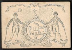 1845 NOTTINGHAM ANCIENT IMPERIAL UNITED ORDER MEMBERSHIP CARD FOR SAMARITAN LODGE