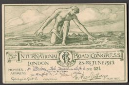THIRD INTERNATIONAL ROAD CONGRESS LONDON 1913 MEMBERSHIP CARD