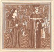 PRINT OF DUKE HUMPHREY & ELEANOR, DUCHESS OF GLOUCESTER STAMPED LONDON LIBRARY