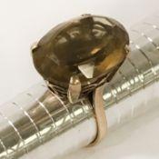 9CT GOLD & SMOKEY QUARTZ RING