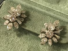STUNNING PAIR OF WHITE GOLD MULTI DIAMOND EARRINGS WITH APPROX 6.5 CTS OF DIAMONDS TOTAL