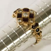ANTIQUE 18CT GOLD DIAMOND & RUBY RING