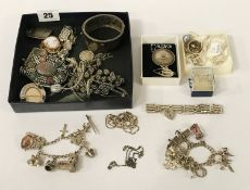 QTY. OF SILVER & WHITE METAL JEWELLERY