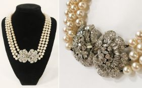 WHITE GOLD MULTI DIAMOND FRONT FASTENING PEARL DRESS NECKLACE - A STUNNING PIECE OF JEWELLERY
