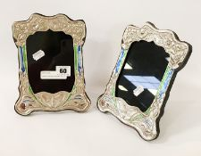 PAIR OF SILVER & ENAMEL BUTTERFLY PHOTO FRAMES