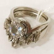 18CT PLATINUM TWO PIECE DIAMOND RING - CENTRE STONE APPROX 2CTS WITH 7 MARQUISE CUT DIAMONDS,