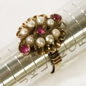 VICTORIAN 15CT PEARL & RUBY RING