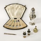 HM SILVER SIFTER, CORKS, FUNNEL,PENCIL & CASED SPOONS