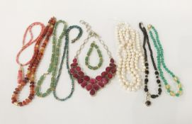 COLLECTION OF GEMSTONE NECKLACES - SOME SILVER