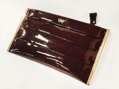 PANDORA CLUTCH BAG- GREAT CONDITION WITH PURCHASE RECEIPT, PLEAT POUCH PATENT PURPLE