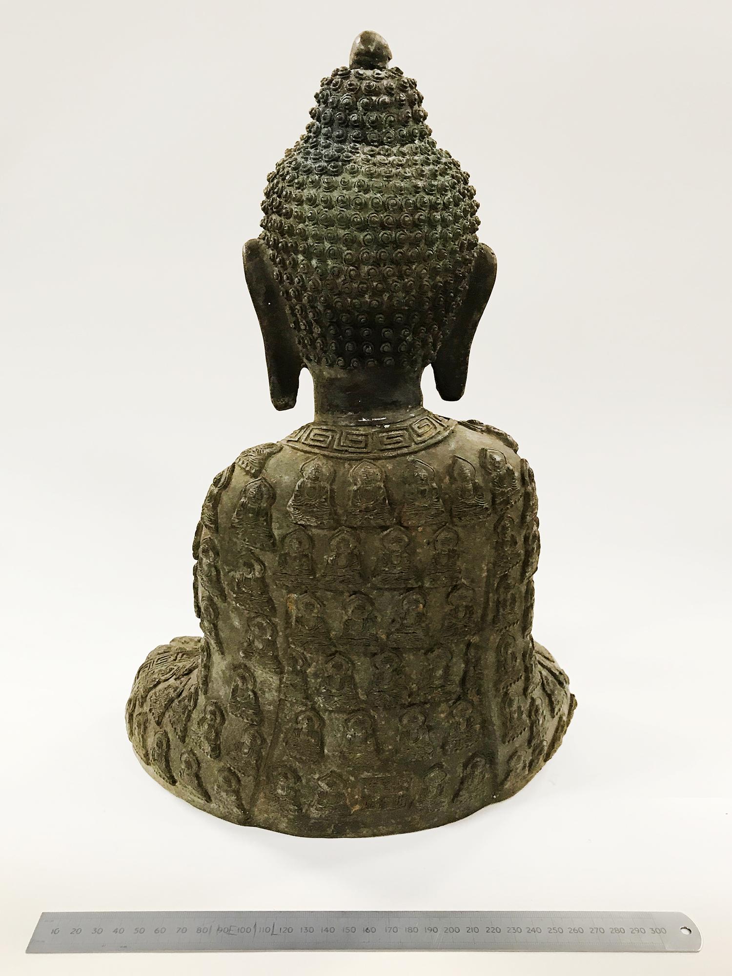 LARGE BRONZE SEATED BUDDHIST FIGURE - 40CM HIGH - Image 2 of 2