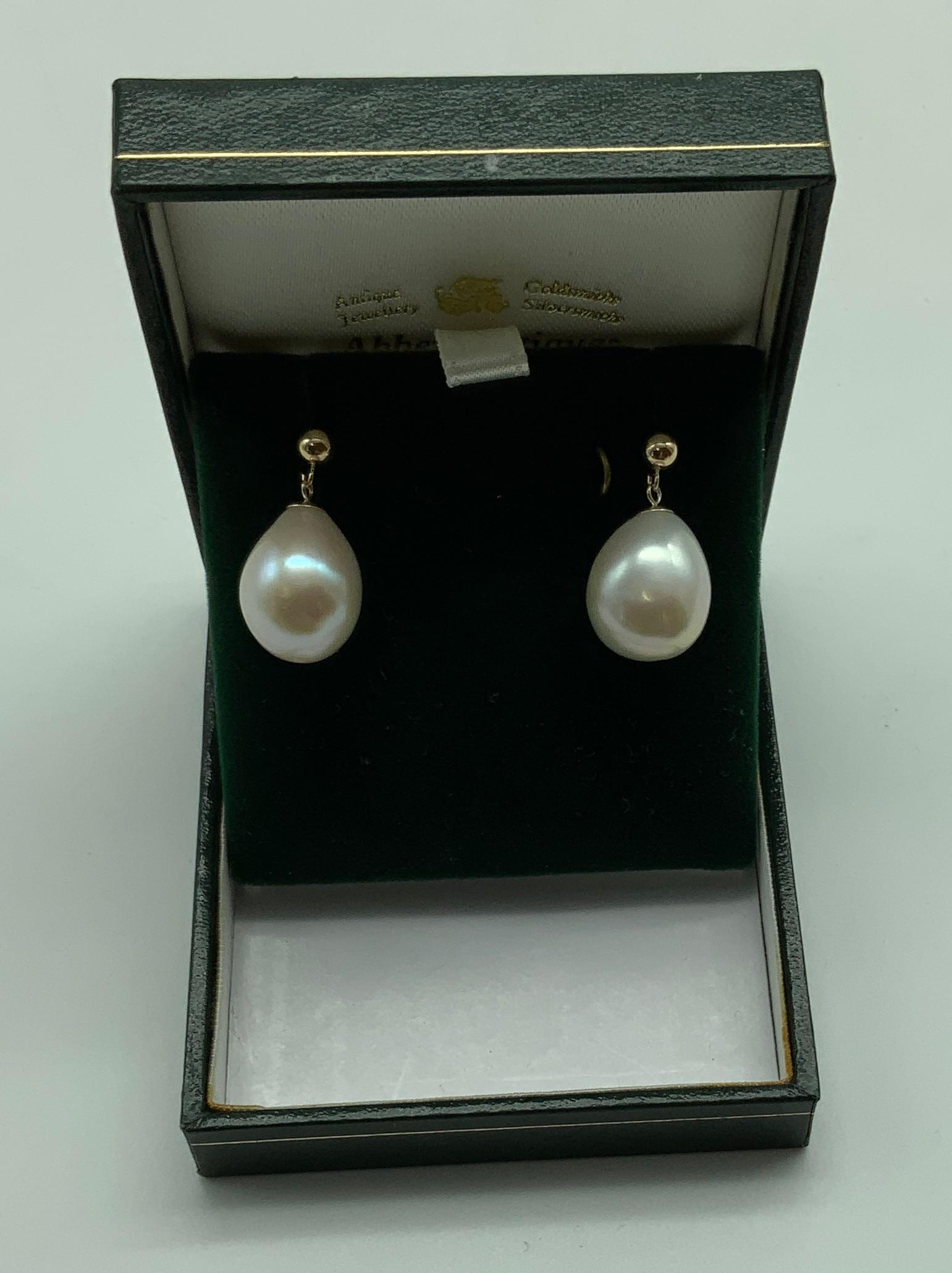 New unworn 9ct gold large south sea pearl earrings - Image 2 of 2