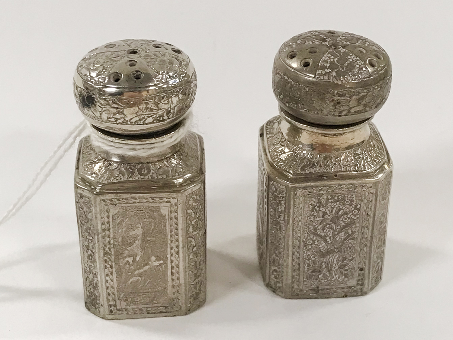 TWO PERSIAN SILVER PEPPER POTS - Image 2 of 6