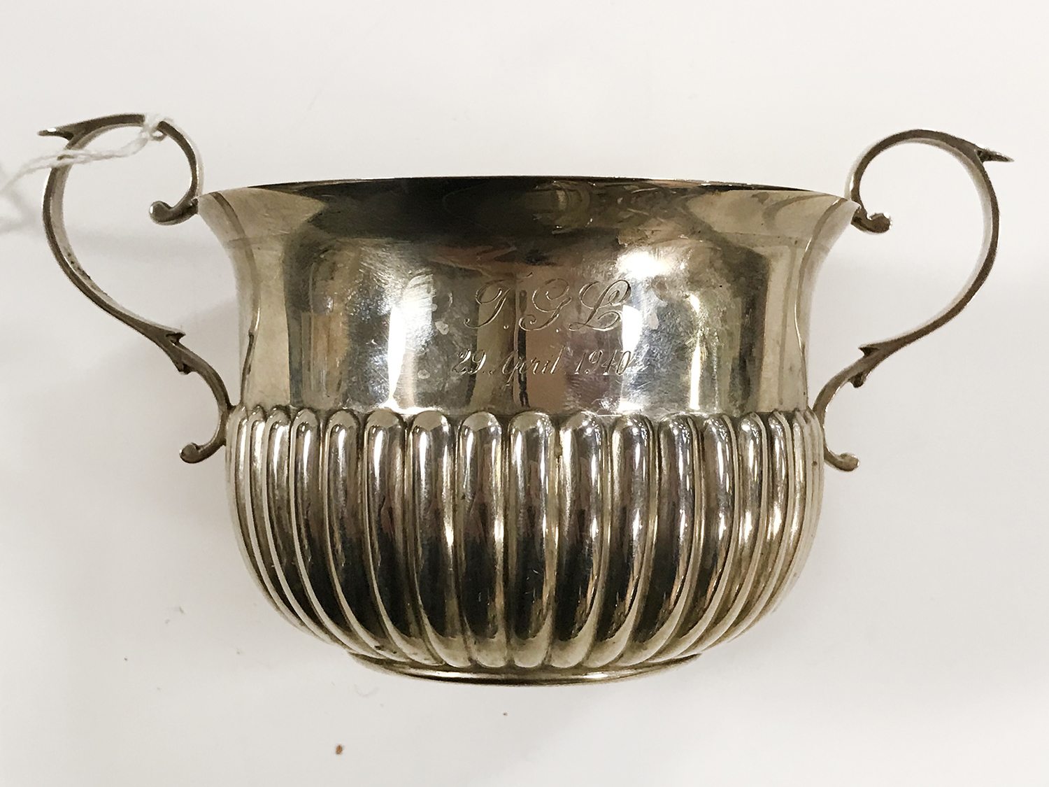 HM SILVER TWIN HANDLED SUGAR BOWL - Image 5 of 5
