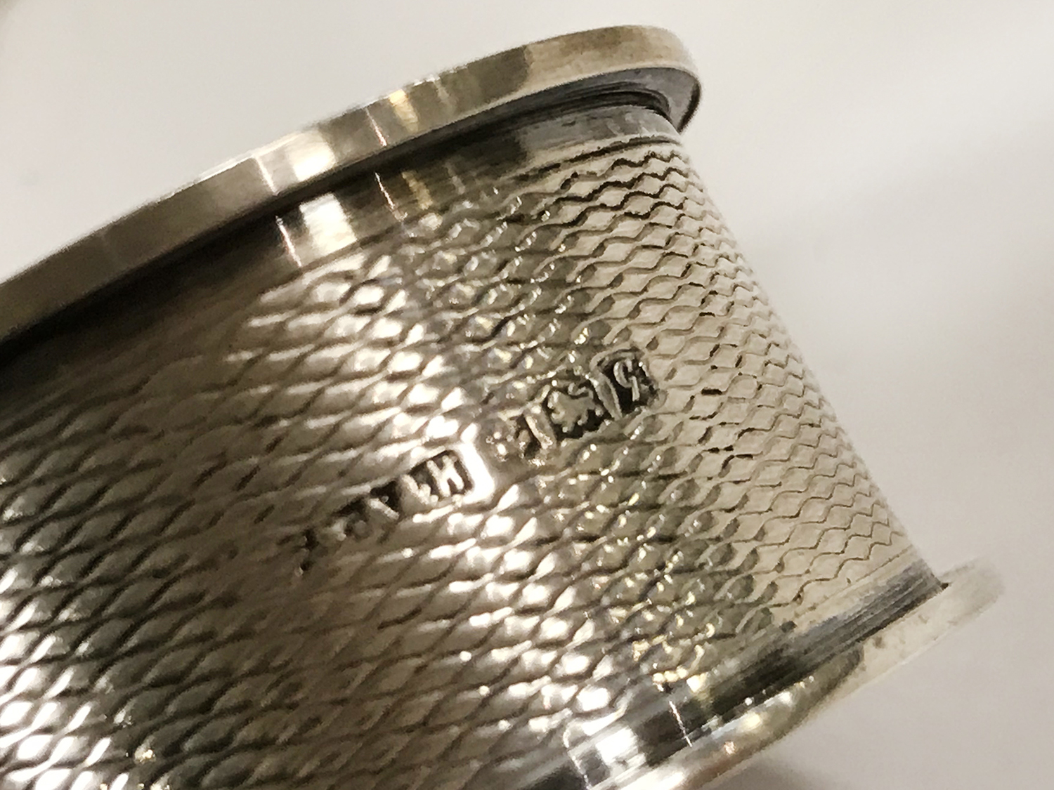 HM SILVER FRETWORK BOWL WITH 5 HM SILVER NAPKIN RINGS - Image 6 of 8