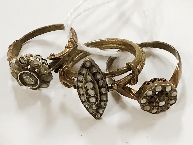 3 ANTIQUE DIAMOND RINGS