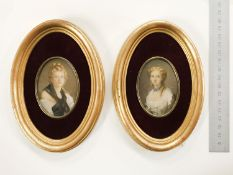 TWO FRAMED 20THC PORTRAIT MINIATURES