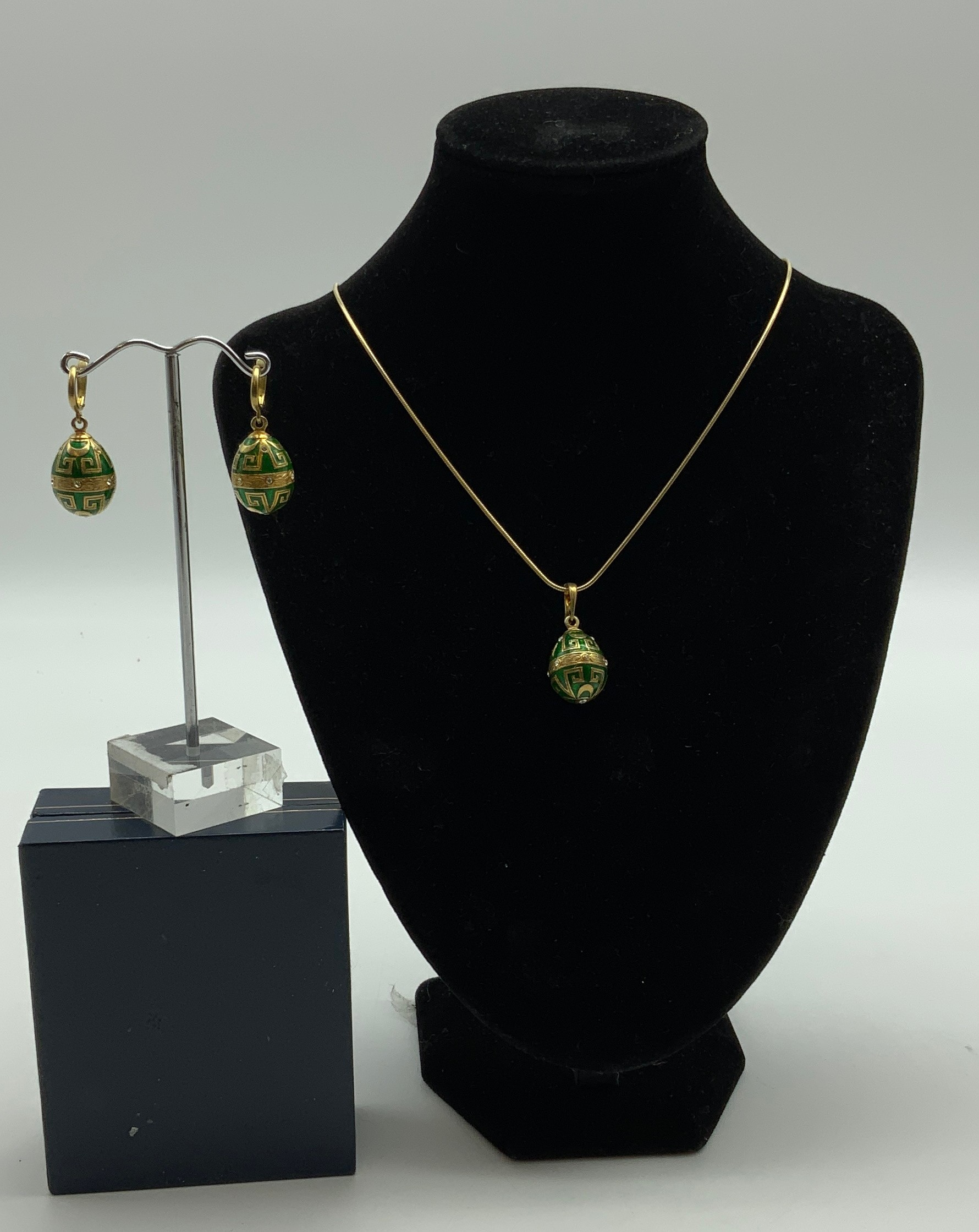 Jewellery Set 14ct gilt sterling silver hallmarked enameled and topaz pendent and a earrings - Image 2 of 4